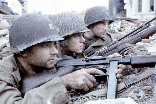 Tom Hanks, Matt Damon and Edward Burns in Saving Private Ryan